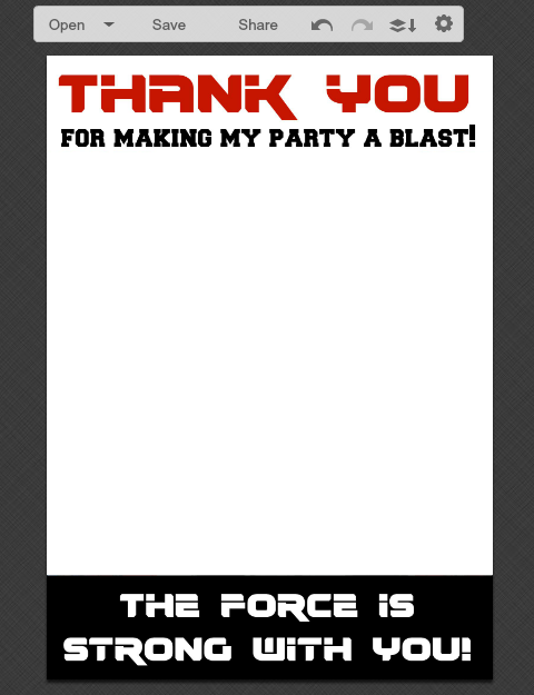 Star Wars Thank You Card Template DIY