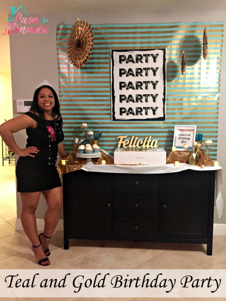 teal and gold party