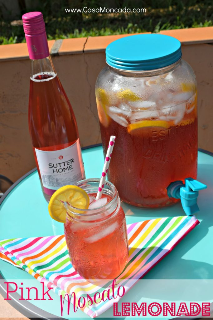 Enjoy a refreshing Pink Moscato Lemonade. Get the recipe on the blog now.