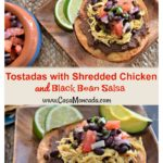 Tostadas with shredded chicken and black bean salsa recipe