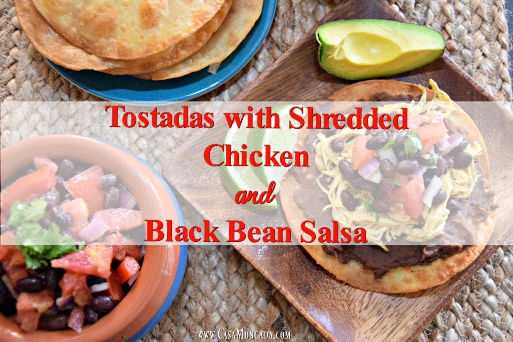 tostadas with shredded chicken and black bean salsa