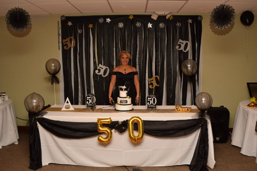 gold, black, and white 50th birthday