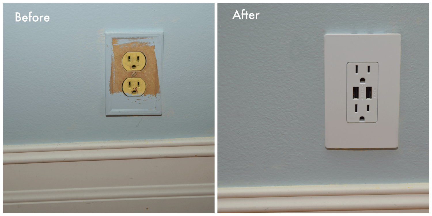 Before and after of Legrand outlet