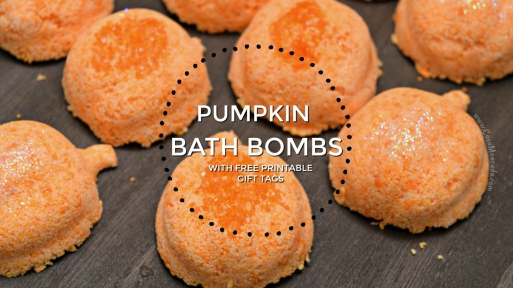 pumpkin bath bombs with printable gift tags
