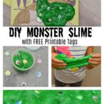 DIY Monster Slime tutorial with free printable tags