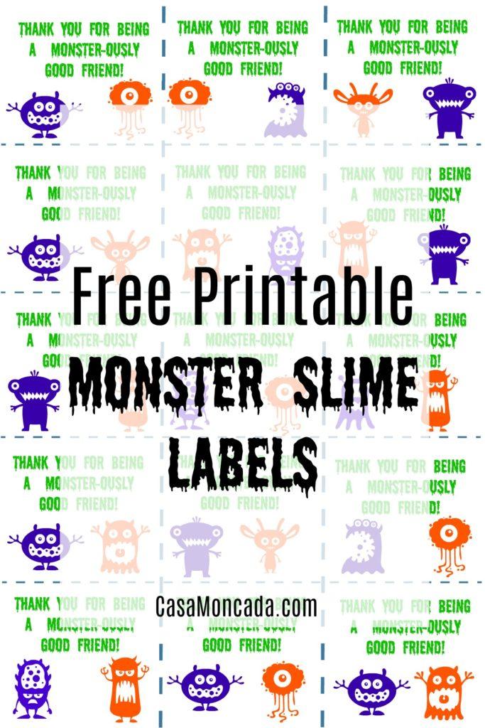 Printable Monster Labels