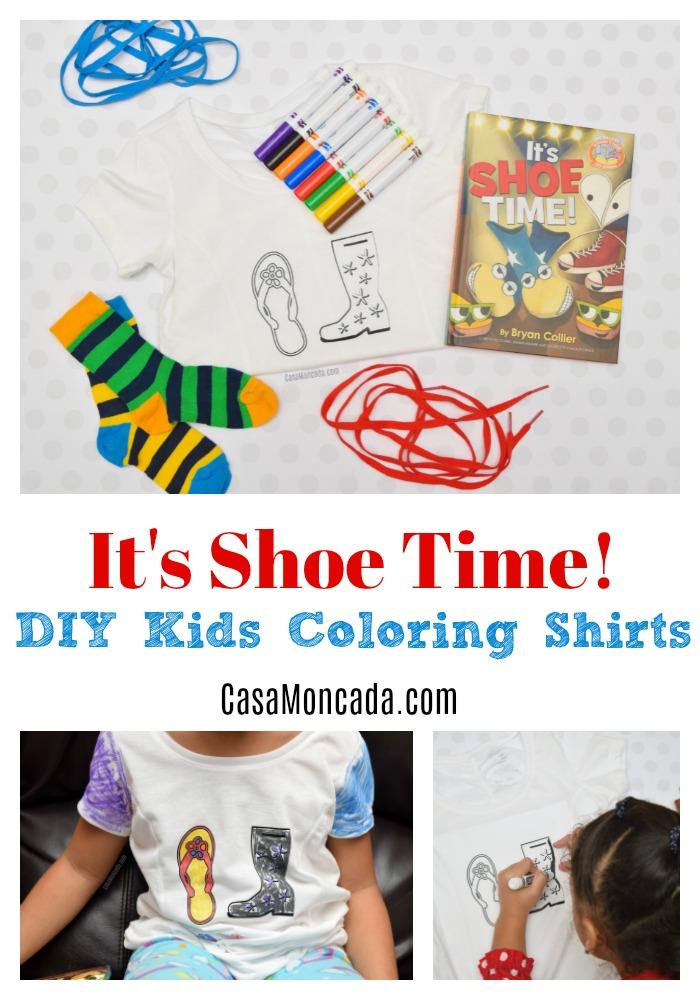 It's shoe time diy kids coloring tshirts