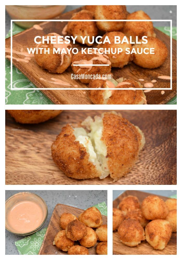 cheesy yuca balls with mayo ketchup dipping sauce