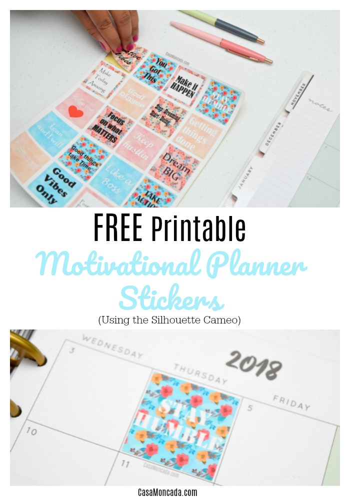 Free printable inspirational planner stickers using silhouette cameo