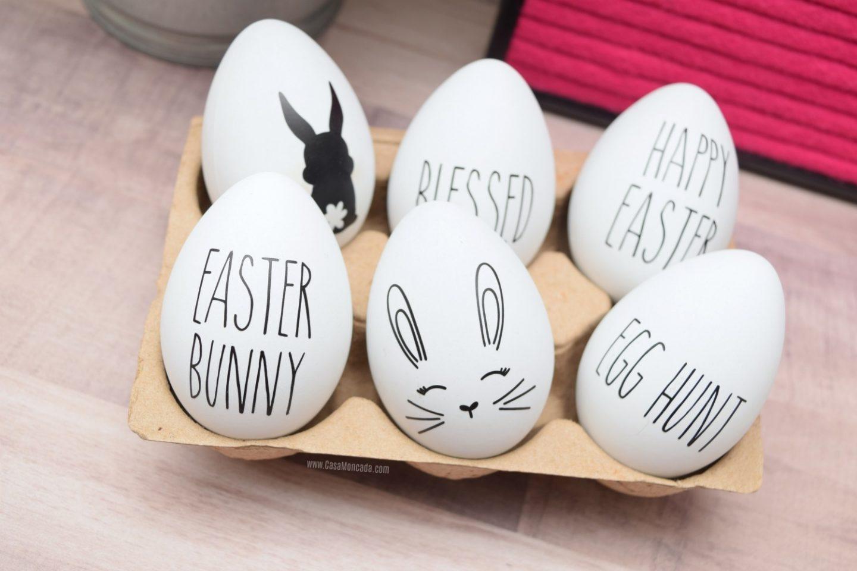 Adorable Rae Dunn inspired easter eggs