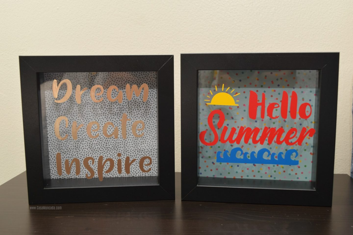 DIY shadow boxes using vinyl