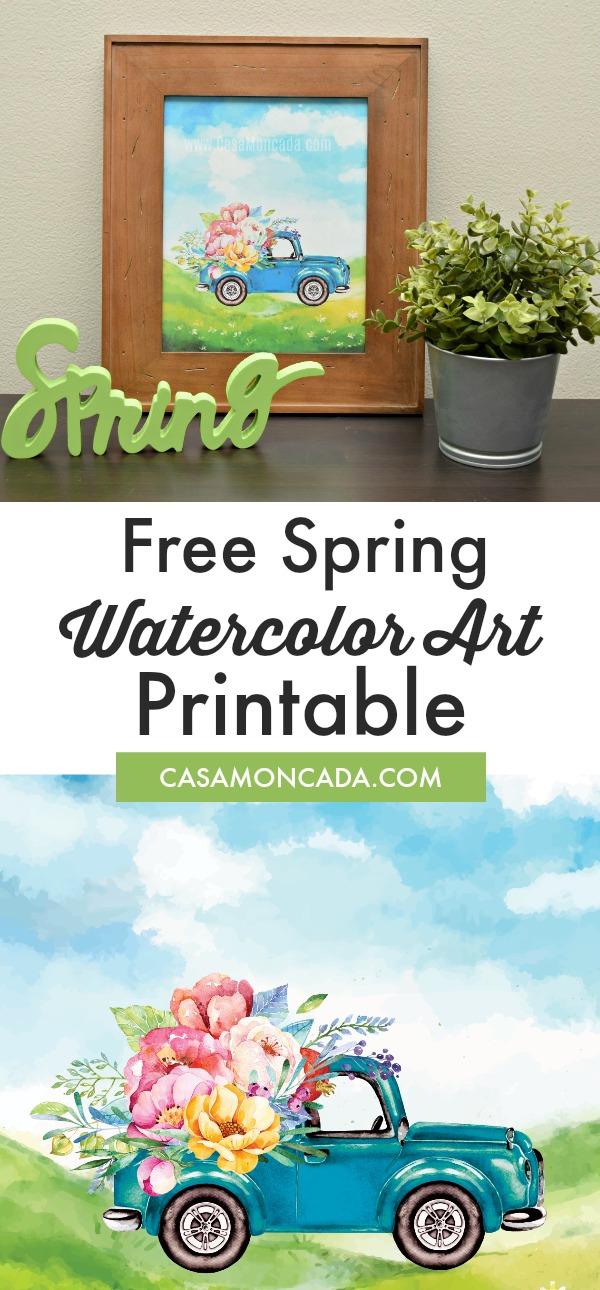 Free Spring Watercolor Art printable