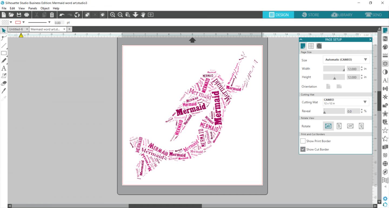 Mermaid word art in Silhouette Studio