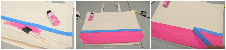DIY Painted beach bag step by step
