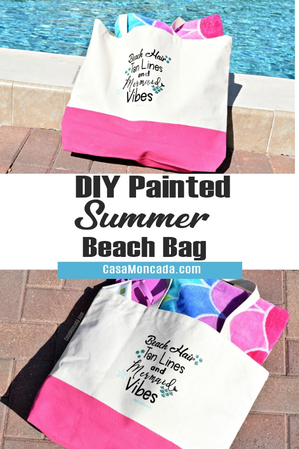 DIY Painted summer beach tote using HTV