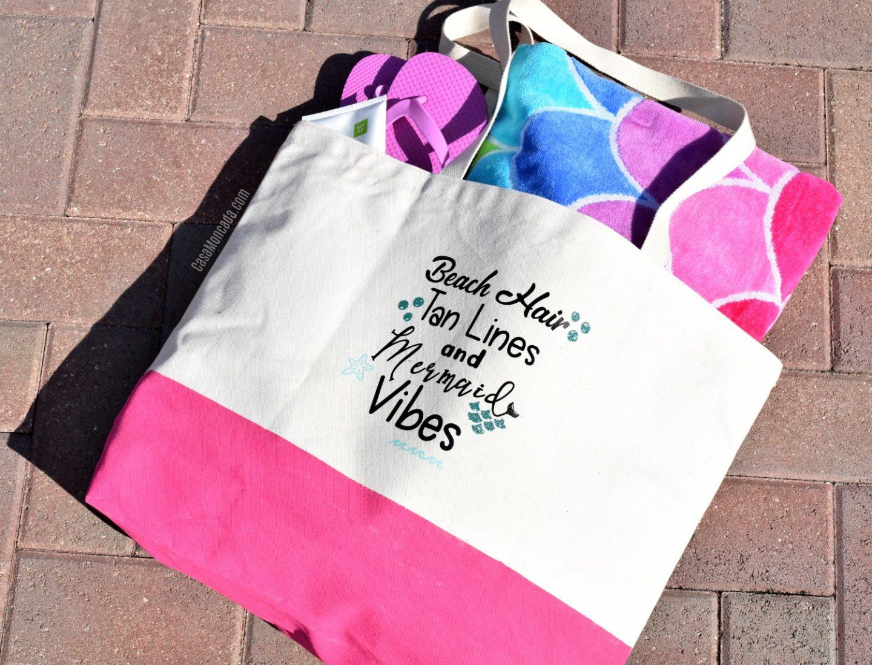 Painted summer beach bag with heat transfer vinyl
