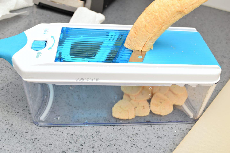 Air Fryer plantain chips using slicer