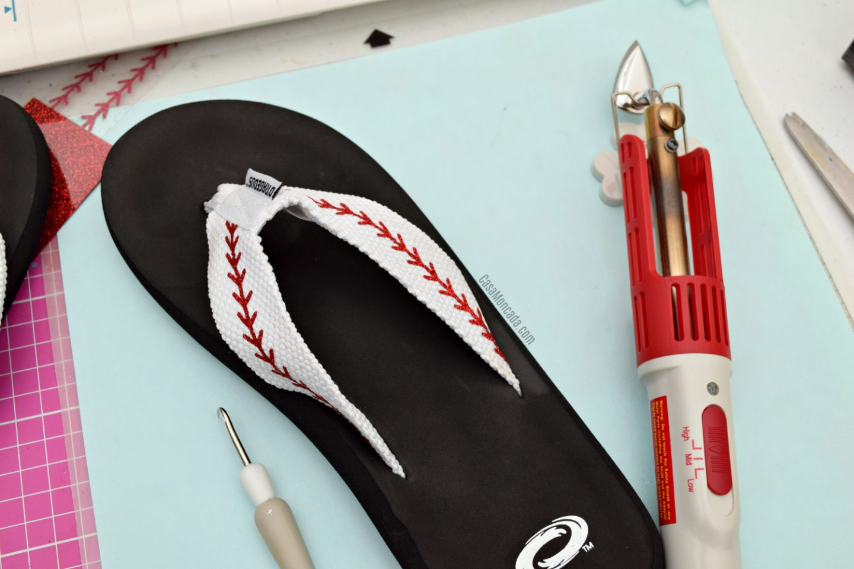 Baseball stitch flip flops