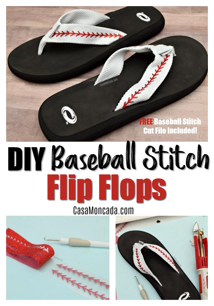 DIY Baseball Stitch Flip Flops using the Silhouette Cameo