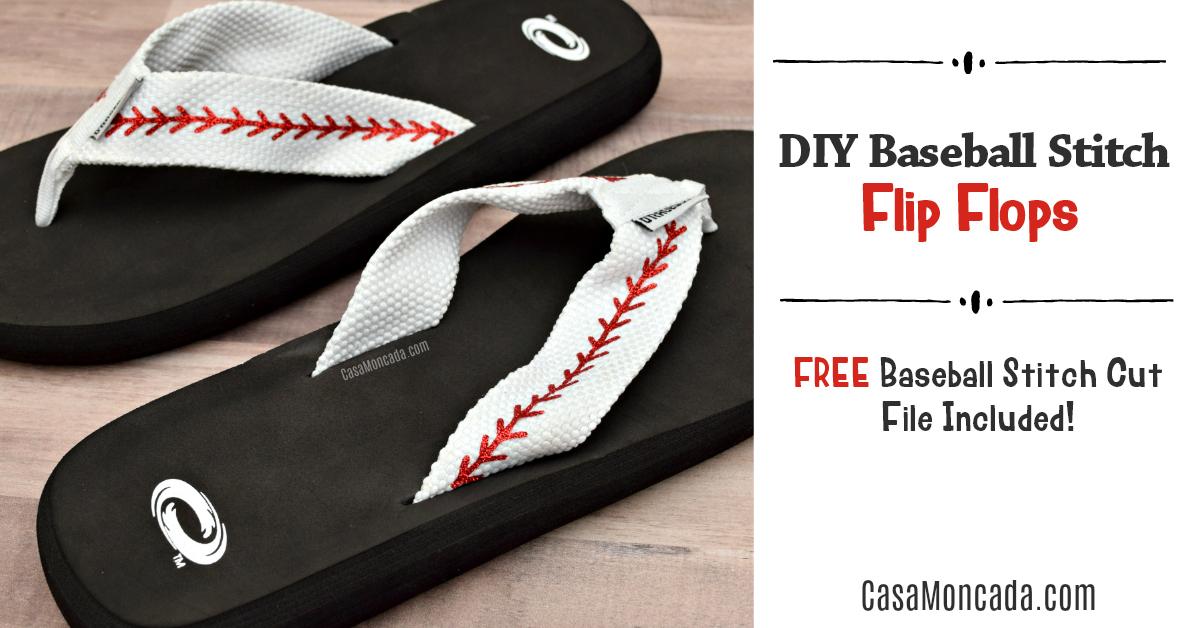 DIY baseball stitch flip flops