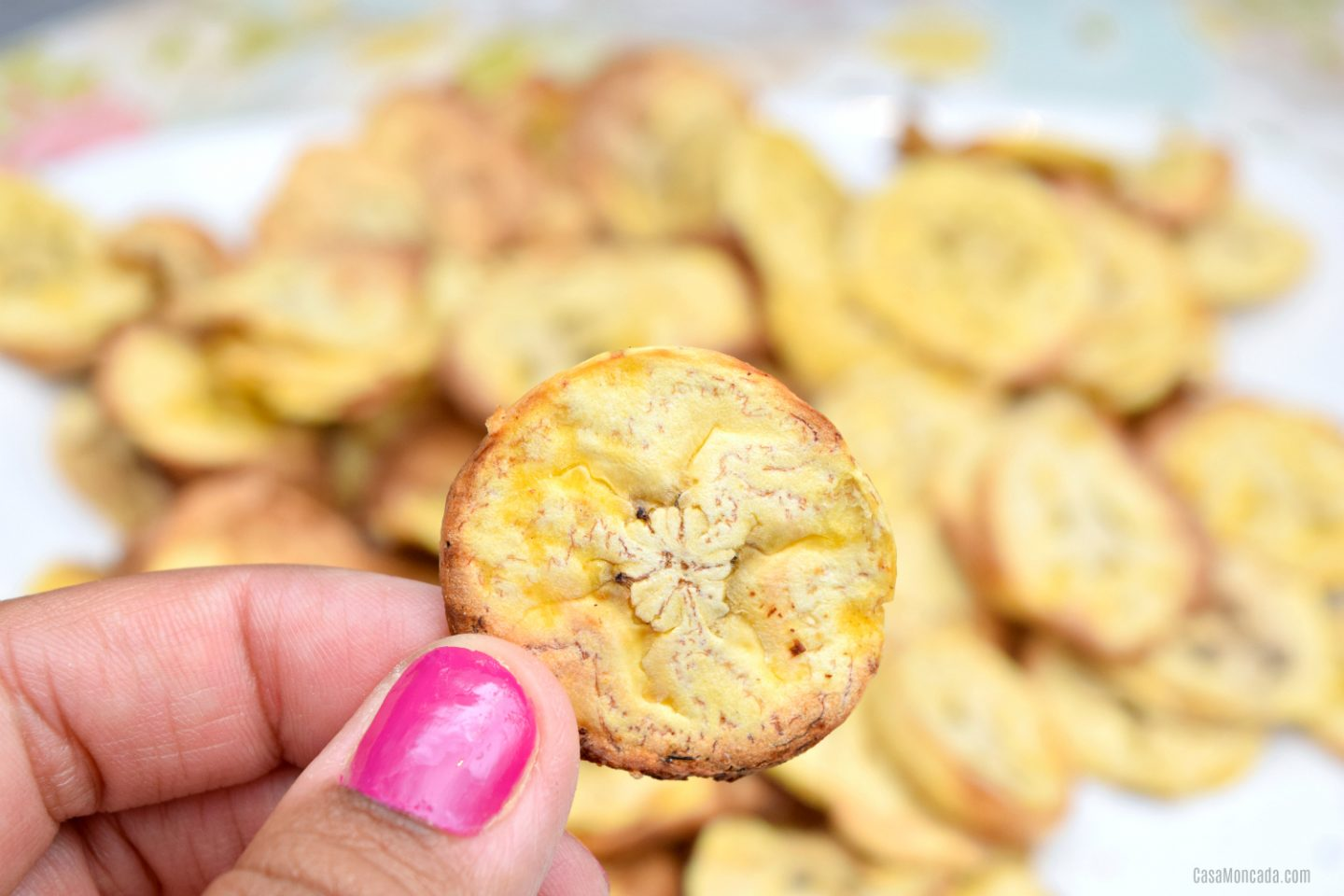 Healthy air fryer plantain chips