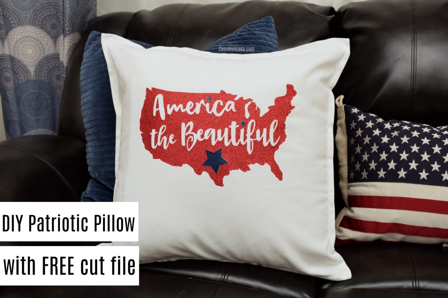 DIY 4th of July pillow with free cut file