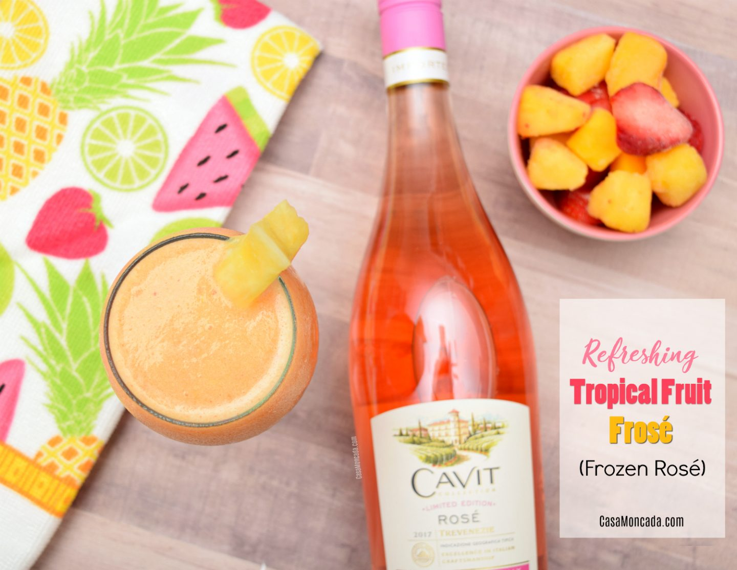 Refreshing tropical fruit frozen wine drink