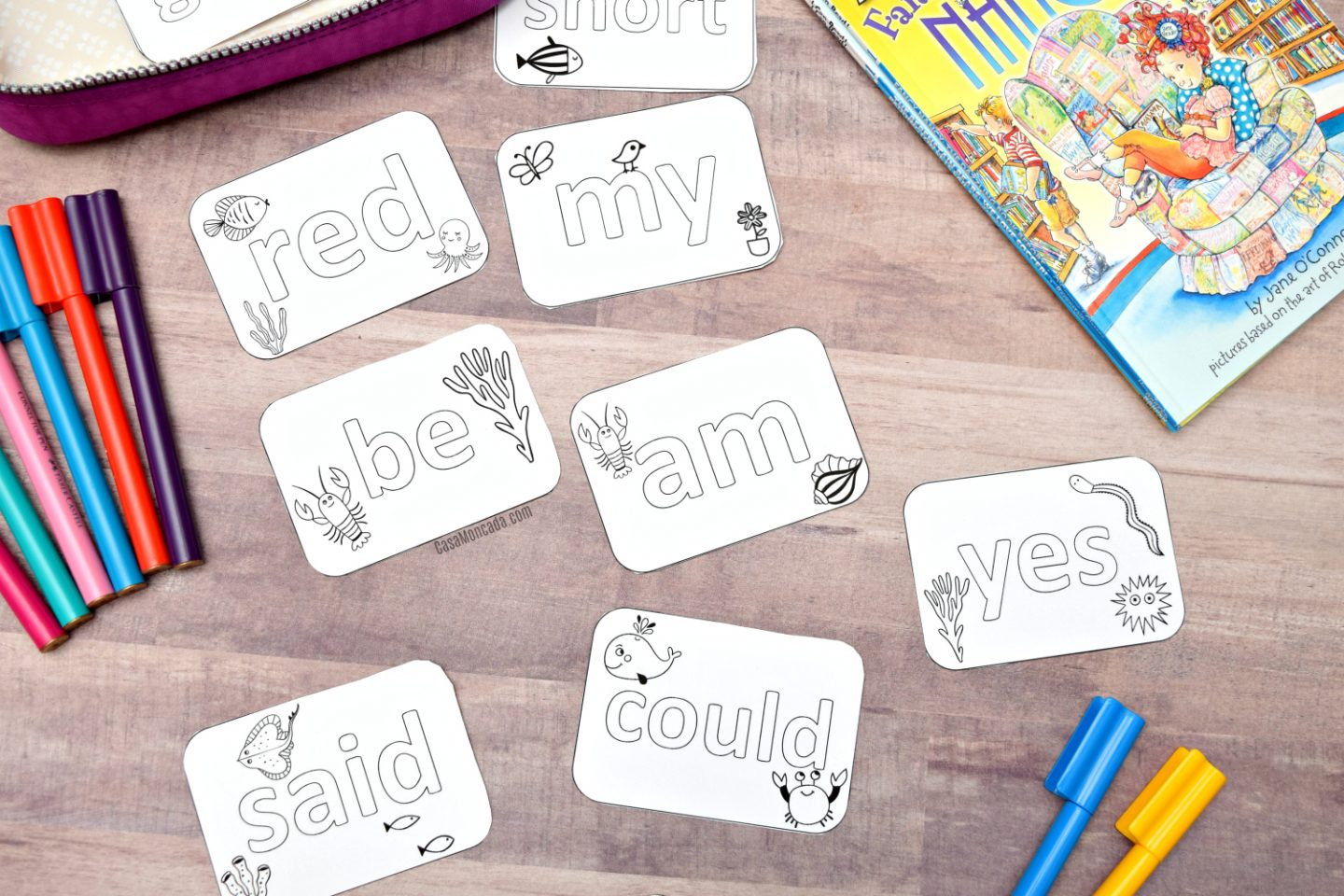 Coloring sight word flash cards