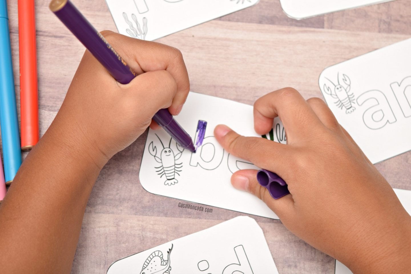 Coloring sight word flashcards
