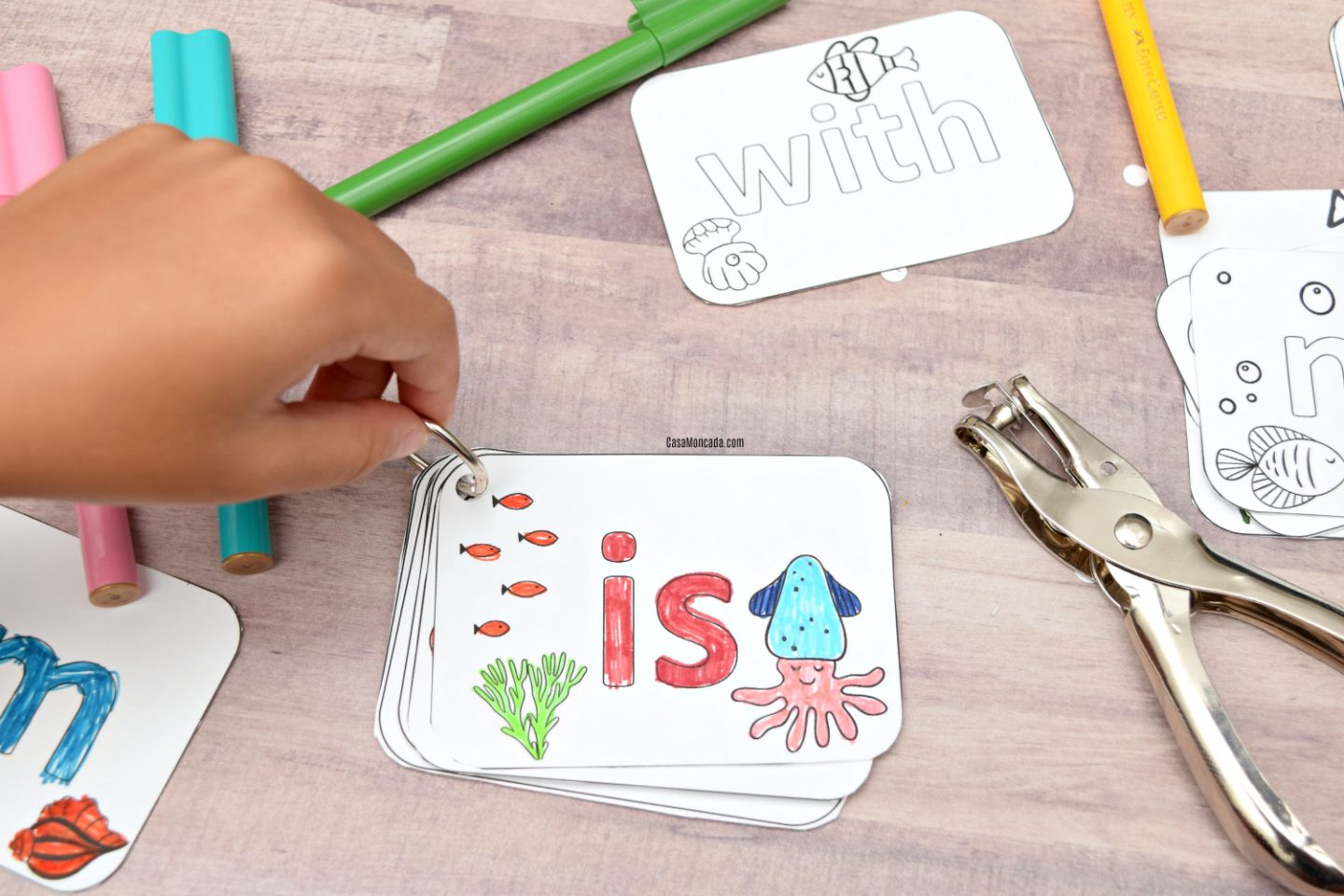 Coloring word flash cards