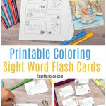 Free printable coloring sight word flashcards