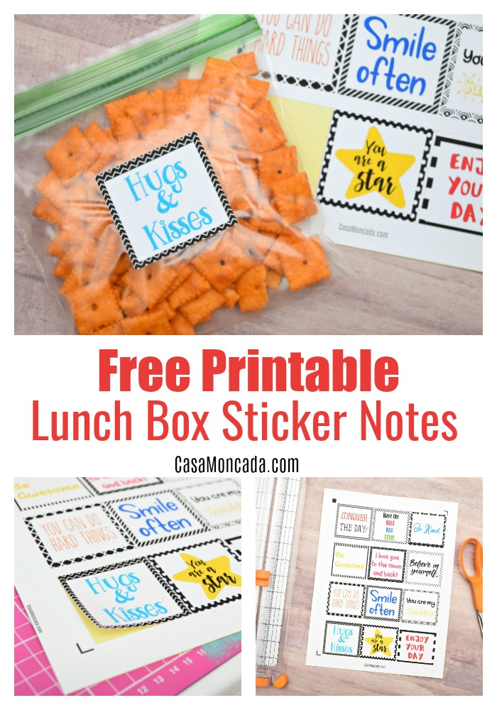 free Printable lunchbox sticker notes