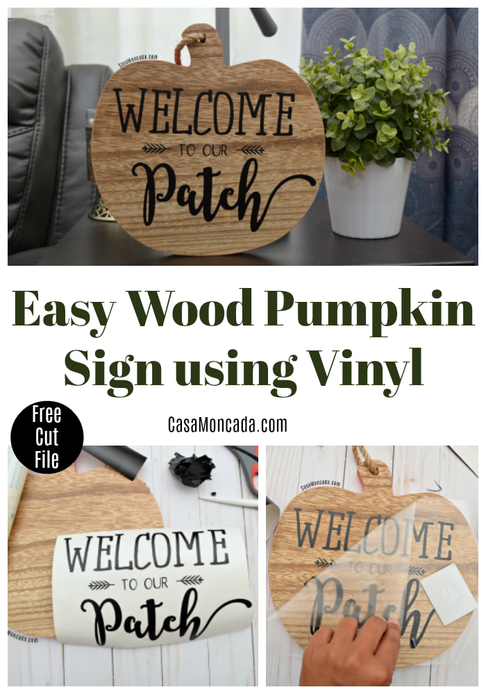 Easy Wood Pumpkin sign using Vinyl and the Silhouette Cameo
