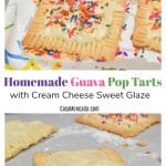 Homemade Guava Pop Tarts with cream cheese sweet glaze and rainbow sprinkles