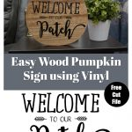 easy DIy wood pumpkin sign using vinyl