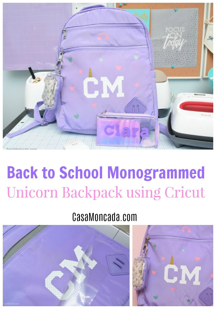 Back to School MOnogrammed Unicorn Backpack using Cricut Maker and Iron-on Vinyl