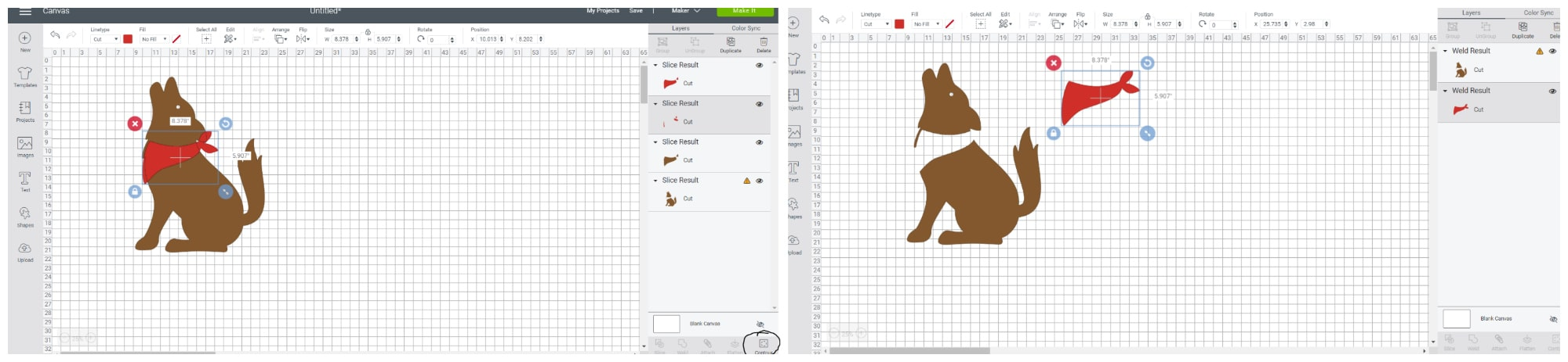 Cricut Design Space Contour feature