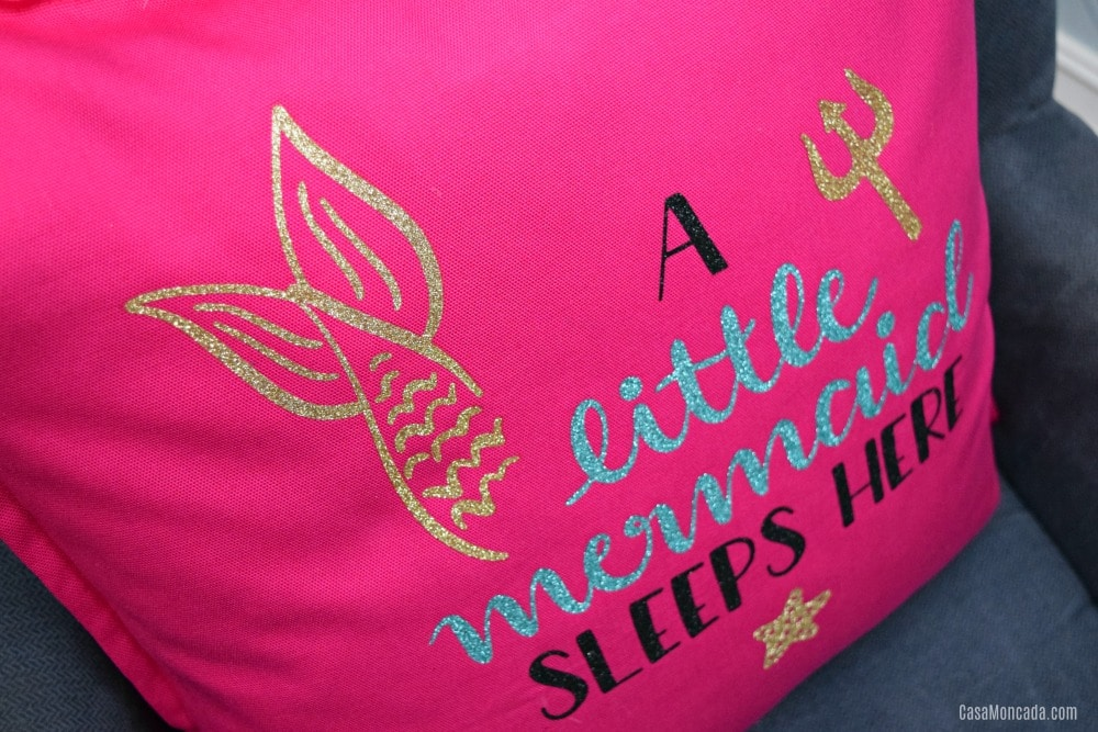 Glitter Iron-On Mermaid Pillow using Cricut Maker