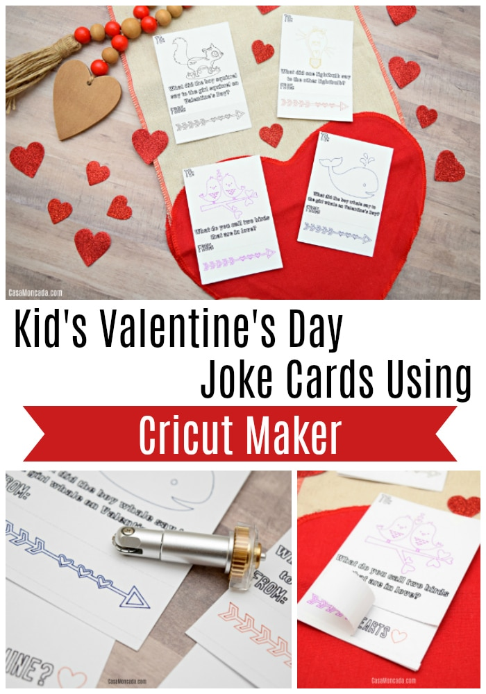 Kid's Valentine's Day Joke Cards Using Cricut Maker
