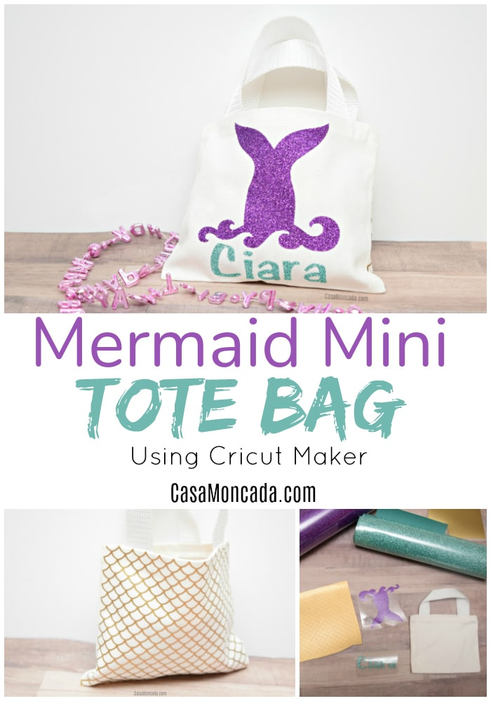Mermaid Mini Tote Bag using cricut Maker