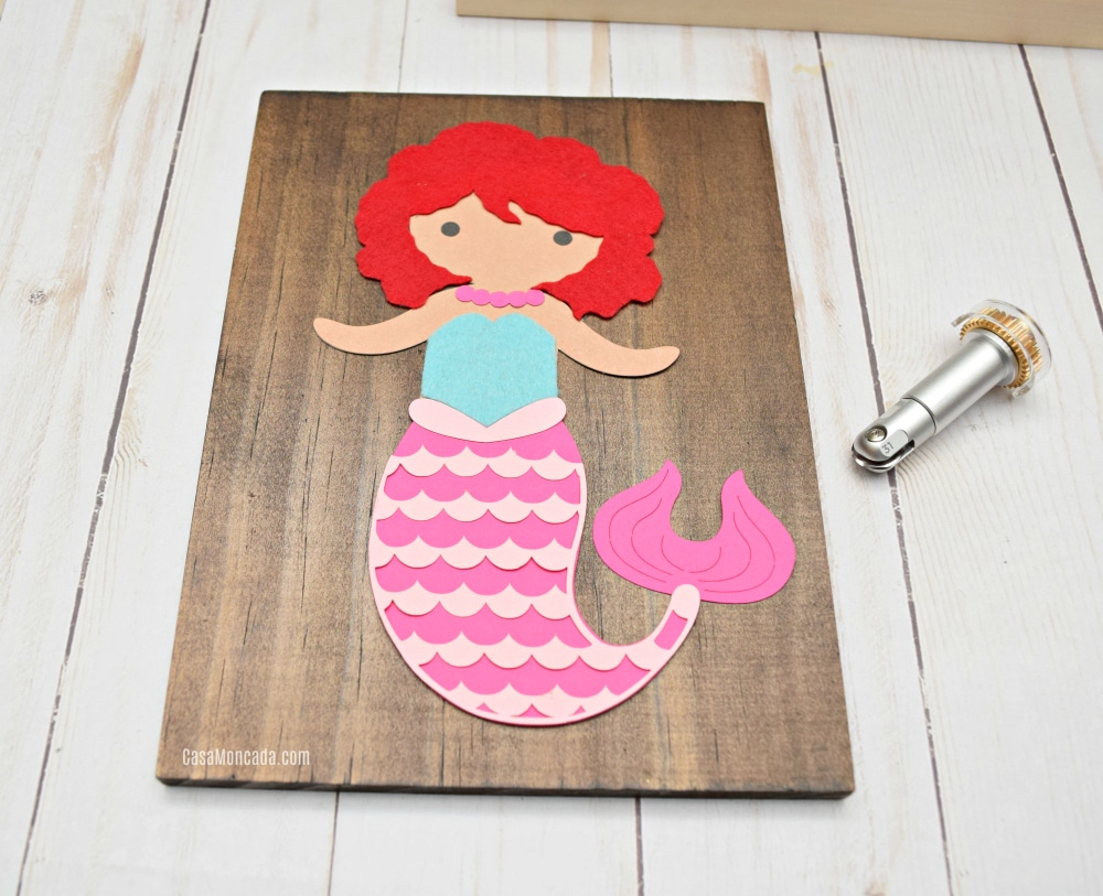 Mermaid Wood art using Cricut Wavy tool